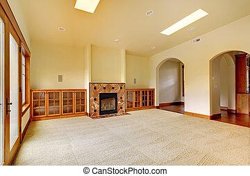 stanza, shelves., nuovo, grande, lusso, interior., casa, caminetto, vuoto