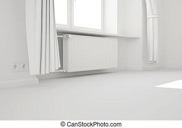 stanza, sistema, riscaldamento, finestra, bianco, vuoto