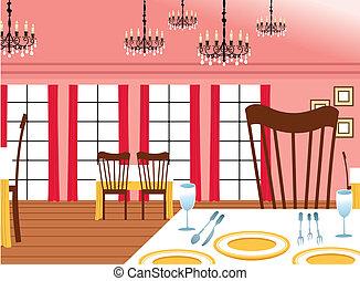 stanza, tavoli, dinning