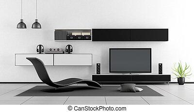 stanza, tv, salotto, nero, chaise, bianco, unità