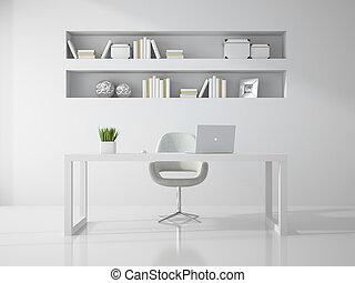 stanza, ufficio, interpretazione, pulito, interno, bianco, 3d