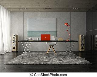 stanza, ufficio, moderno, interpretazione, interno, 3d
