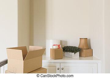 stanza, varietà, scatole, spostamento, vuoto, fatto valigie