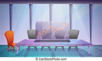 stanza, vettore, riunione, ufficio, illustrazione