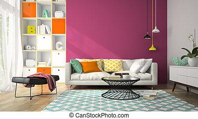 stanza, viola, moderno, interpretazione, 2, disegno, interno, parete, 3d