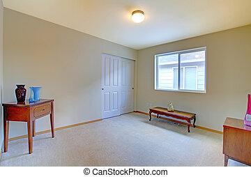 stanza vuota, con, anticaglia, panca, e, gabinetto