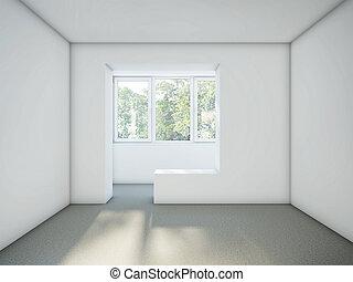 stanza vuota, con, bianco, pareti, e, grigio, pavimento cemento