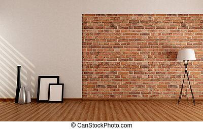 stanza vuota, con, muro di mattoni