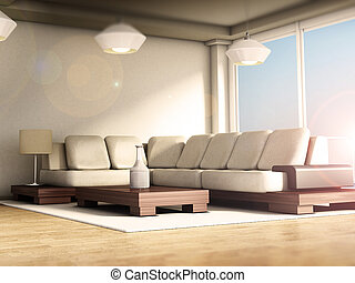 stanza, windows, moderno, illustrazione, grande, floor., parquet, interno, 3d