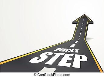 stap, eerst