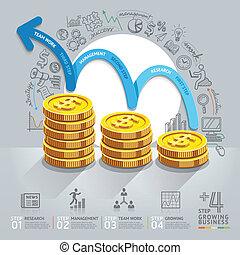 stap, groei, infographics., zakelijk