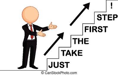 stap, nemen, zelfs, eerst