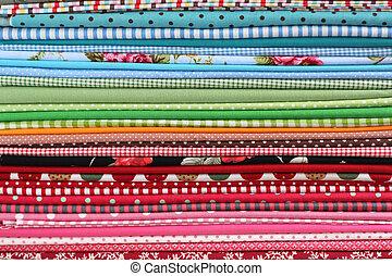 stapel, achtergrond, kleurrijke, katoen, textiel