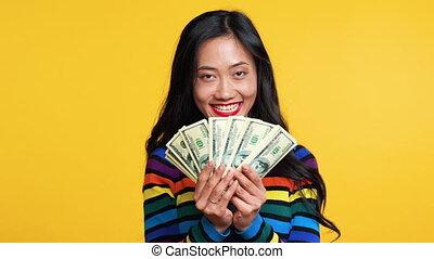 stapel, besitz, glücklich, geld, frau, asiatisch