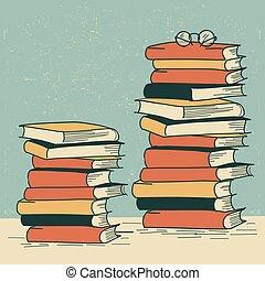 stapel boeken, op, de, table.vector, retro, achtergrond,...