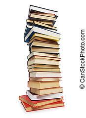 stapel boeken, vrijstaand, op, de, witte achtergrond