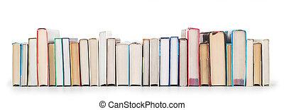 stapel boeken, vrijstaand, op, een, witte achtergrond
