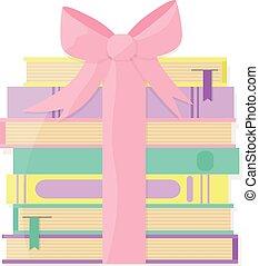 stapel, boekjes , verpakt, cadeau