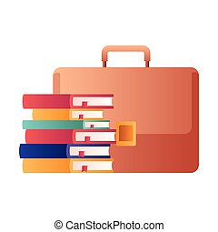 stapel, boekjes , vrijstaand, pictogram, koffer