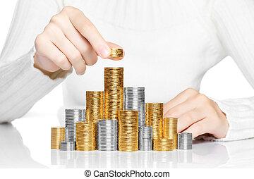 stapel, concept, hand, investering, groei, zetten, munt, of