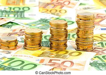 stapel, geldmünzen, steigend, kurve
