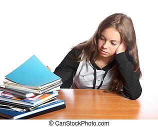 stapel, girl-teenager, boekjes , blik