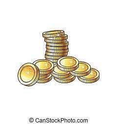 stapel, gouden muntstukken, hoop, stapel, glanzend