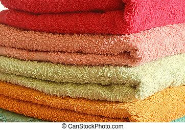 stapel, handdoeken, colorfull