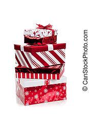 stapel, kadootjes, verpakte, witte kerst, rood