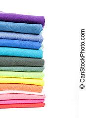 stapel, kleurrijke, t-shirts