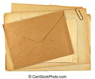 stapel, retro, papieren