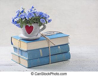 stapel, van, blauwe , boekjes