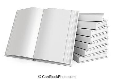 stapel, van, books., open, witte , boek