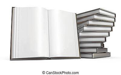 stapel, van, books., opengeslagen boek