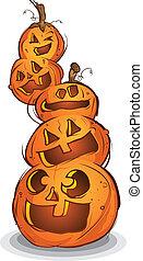 stapel, van, gekerfde, halloween, pompoennen