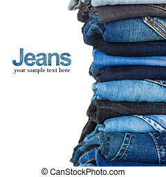 stapel, van, gevarieerd, schaduwen van blauw, jeans, op wit,...