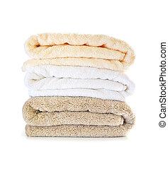 stapel, van, handdoeken