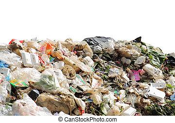stapel, van, huiselijk, restafval, vervuiling, van, milieu