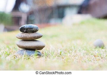 stapel, van, kiezelsteen, stenen