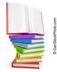 stapel, van, kleurrijke, boekjes , met, opengeslagen boek, op, de, bovenzijde