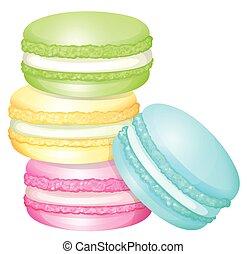 stapel, van, kleurrijke, macaron