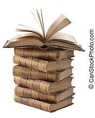 stapel, van, oud, boekjes