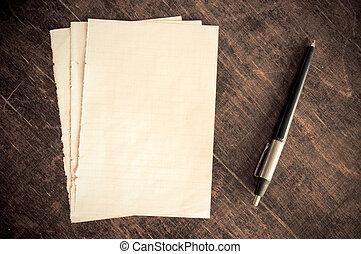 stapel, van, oud, papier, kaarten