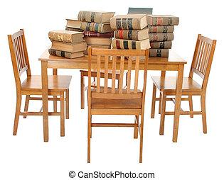 stapel, van, oud, vieze , wet boeekt, op, tafel, met, knippend pad