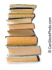stapel, van, oude boeken