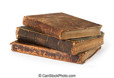 stapel, van, oude boeken, vrijstaand, op, een, witte...