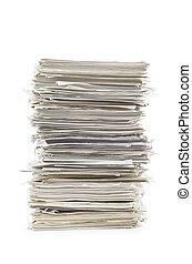 stapel, van, papieren, op wit