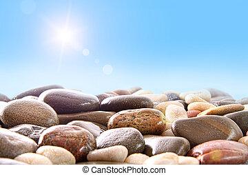 stapel, van, rivier, rotsen, op wit
