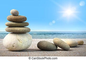 stapel, van, spa, rotsen, op, hout, tegen, blauwe hemel