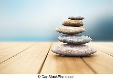 stapel, van, steentjes, op, van hout grondslagen